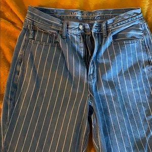 Striped Blue & White Mom Jeans